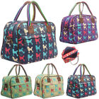 Ladies Oilcloth Poodle Holdall Weekend Travel Shoulder Bag Handbag Womens