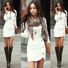 Winter Women Split Knitted Sweater Jumper Pullover Knitwear Long Mini Dress Top