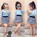 2pcs Toddler Baby Girls Outfits Denim T-shirt Tops+Skirt Dress Kids Clothes Set