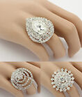 Diamante Crystal Large Adjustable Rings Party Prom Bridal Statement Ring Silver