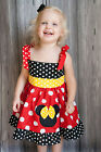 GIRLS MIMMIE MOUSE DISNEY JUMPER DRESS BRIGHT RED WHITE DOTS 12M TO 6Y