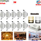 10pcs Dimmable 3W LED Recessed Ceiling Light Downlight Spot Lamp With Driver US