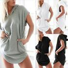 UK 8-20 Womens Short Sleeve Loose Hoodie Casual Blouse T-Shirt Tops Mini Dress
