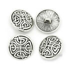 12PCS Round Carving  Overcoat Suit Shank Buttons Silver Retro 17mm