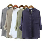 New Women's Vintage Retro Linen Mix Summer Tunic Loose Top Shirt Blouse T-shirt