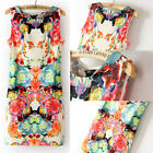 Hot Retro Flower Print Sexy Womens Sleeveless Slim Chiffon Dress Mini Dress