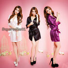 Cute Girl Sexy Satin Lace Robe Sleepwear Lingerie Nightdress G-string Pajamas