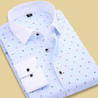 New Mens White Collar round flower India Business Leisure slim shirt T6311