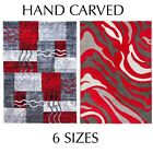 Red Rug Runner Carpet Mat Abstract Modern Design Soft Stain Resistant Silver