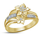 Women's New Fashion 925 Silver Yellow Gold Plated With RD CZ Fancy Ring