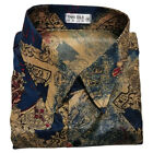 Mens Thai Silk Shirt Long/Short Sleeve Patterned Hawaiian Vintage M L XL 2XL 3XL