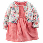 Carters 3 24 Months Floral Cardigan & Dress Set Baby Girl Clothes Pink Ivory