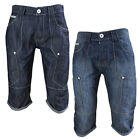 Crosshatch Wing 16 Mens Turn Up Denim Shorts Knee Length Cargo Style Jeans Pants