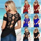 Sexy Womens Lace backless Off Shoulder Top Ladies Summer Casual T-Shirt Blouse