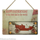Fathers Day Gifts Plaque sign for her vintage chic present Blue Best Day Red Car
