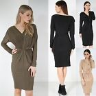 Ladies Stretchy Fitted Midi Dress Womens V Neck Draped Ruched Front Knot Bodycon