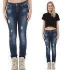New Womens Ladies Blue Slim Skinny Ripped Distressed Frayed Faded Diamante Jeans