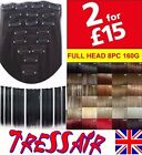 Full Head Clip In Hair Extensions 8 Piece feels Human Black Brown Blonde Red