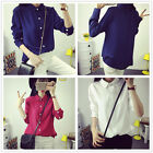 Fashion Women's Preppy Style Casual Cotton Long Sleeves T Shirts Tops Blouses
