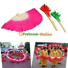 3 Colors Colorful Hand Made Belly Dance Dancing Silk Bamboo Long Fans Veils