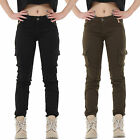 New Ladies Womens Black Green Slim Stretchy Combat Pants Skinny Cargo Trousers