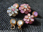 Necklace bracelet DAISY flower resin cabochon connector gold plated opalite look