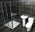 900mm Bifold Door Shower Cubicle En Suite Cloakroom Basin + Toilet + Tap + Tray