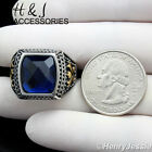 MEN Stainless Steel Silver Gold Black Sapphire Vintage Ring Size 8-13*AR89