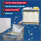 TRIPLE LAUNDRY HAMPER w IRONING BOARD SORT / IRON CLOTHES SAME TIME CREAM & GREY