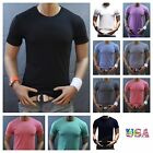 Men's T-Shirt Plain Blank Crew Neck Slim Fit Muscle Gym Fashion Casual Tee S-2XL image