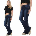 Womens 60s 70s Style Indigo Blue Hipster Bootcut Flared Bellbottom Stretch Jeans
