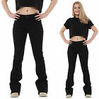 New Womens Ladies 60s 70s Style Black Bootcut Flared Stretch Jeans Denim Flares