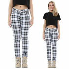 Womens Black & White Tartan Check Plaid Slim Skinny Fitted Pants Trousers Jeans
