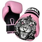 Tuff Muay Thai Boxing Gloves MMA Tiger Pink Kick Boxing Leather