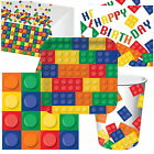 BUILDING BLOCK PARTY TABLEWARE NAPKINS PLATES CUPS TABLECOVERS