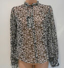 M&S Black Polyester Printed Long Sleeve Party Top Blouse (NEW) Size 6-£29.50