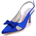EP11004 Blue Party Prom Satin Pointy Toes Stiletto Heel Buckle Bridal Shoes