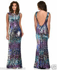 OMBRE PURPLE SILVER FULL STRETCH SEQUIN LOW OPEN BACK FISHTAIL MAXI DRESS 8 - 16