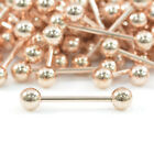 18K ROSE GOLD Tongue Bar Straight Barbell Piercing Eyebrow Tragus Nipple
