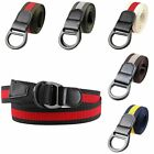 Women Men Contrast Color with Double D Ring Metal Buckle Casual Waistband Belt