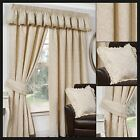 Sheldon Lined Curtains Cream Vintage Damask Ready Made Pair Pencil Pleat
