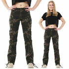 Womens Army Military Green Camouflage Wide Leg Cargo Pants Jeans Combat Trousers