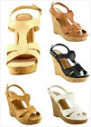 Brand New Women's Strappy Faux Cork High Heel Platform Wedge Pumps Sandals Shoes