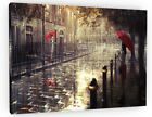 ABSTRACT LONDON STREET RED UMBRELLA WALL ART CANVAS PICTURE 843