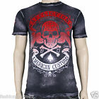 Affliction SPEED RUN A8018 Men's T-shirt Tee Black/Char Brush Wash