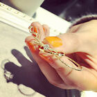 Stack Crystal Cute Above Knuckle Band Midi Ring Set Gold/Silver 5Pcs