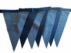 Navy blue checked single sided bunting - wedding birthday party decoration