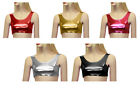 Girls Kids Children Dance Gym School Shiny Plain Tank Crop Top Sleeveless 5-11