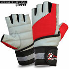 Men's Weightlifting Gloves Body Building Fitness Gym Training Red Gray Gloves