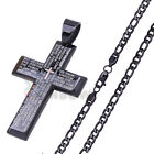 24P14 MEN Stainless Steel Black Lord Prayer Cross Pendant Figaro Chain Necklace
